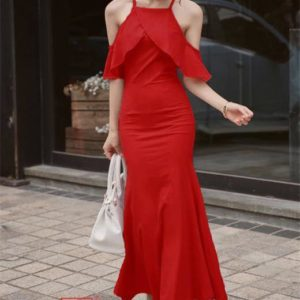 Gigi Fab Long Dress S-L Free SizeRed