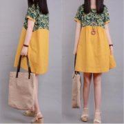 women-loose-casual-short-sleeve-cotton-linen-a-line-mini-dressyellow2