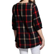 women-ladies-blouse-plaid-print-o-neck-34-sleeve-plus-size-casualloose-vintage-shirt-tops-red-in