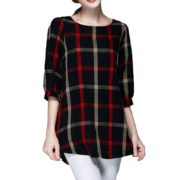 women-ladies-blouse-plaid-print-o-neck-34-sleeve-plus-size-casualloose-vintage-shirt-tops-red-intl-