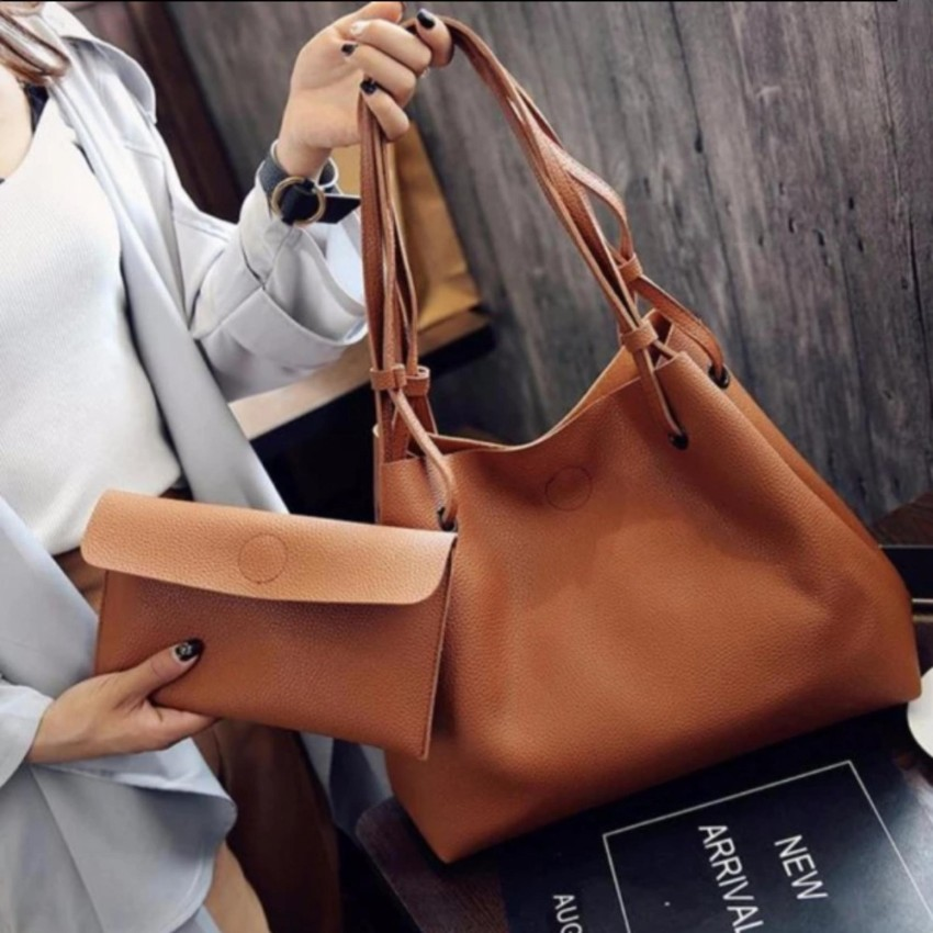 2 In 1 Large Casual Leather Bucket Shoulder Bag Office Tote