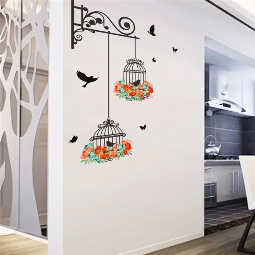 Uotoc Birds On Cage Colorful Flowers Butterfly Home Decor Living Room Wall  Stickers Door Decals Bedroom Mural Art Posters Diy Wallpaper UOJ9DG  (Color:As ...