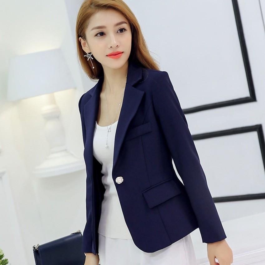 CALAN DIANA Women's Korean-style Slim Fit Long Sleeve Blazer