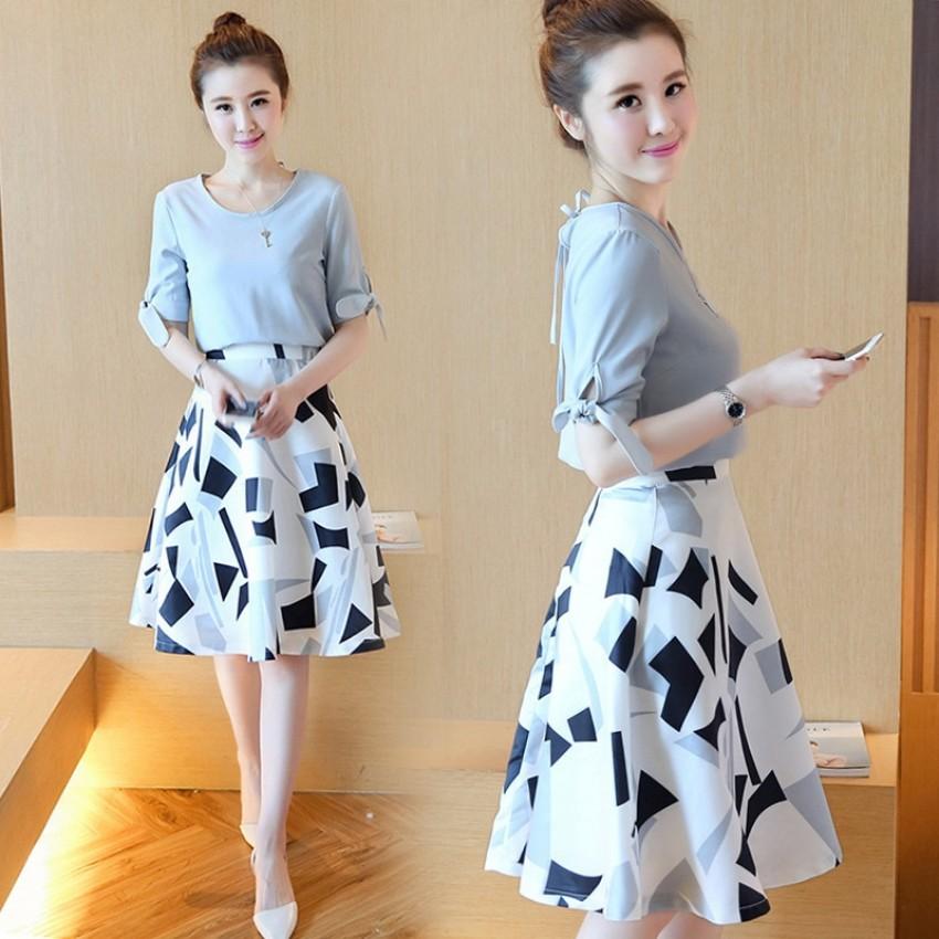 Debutante Korean Style Chiffon Slimming Slim Fit Printed