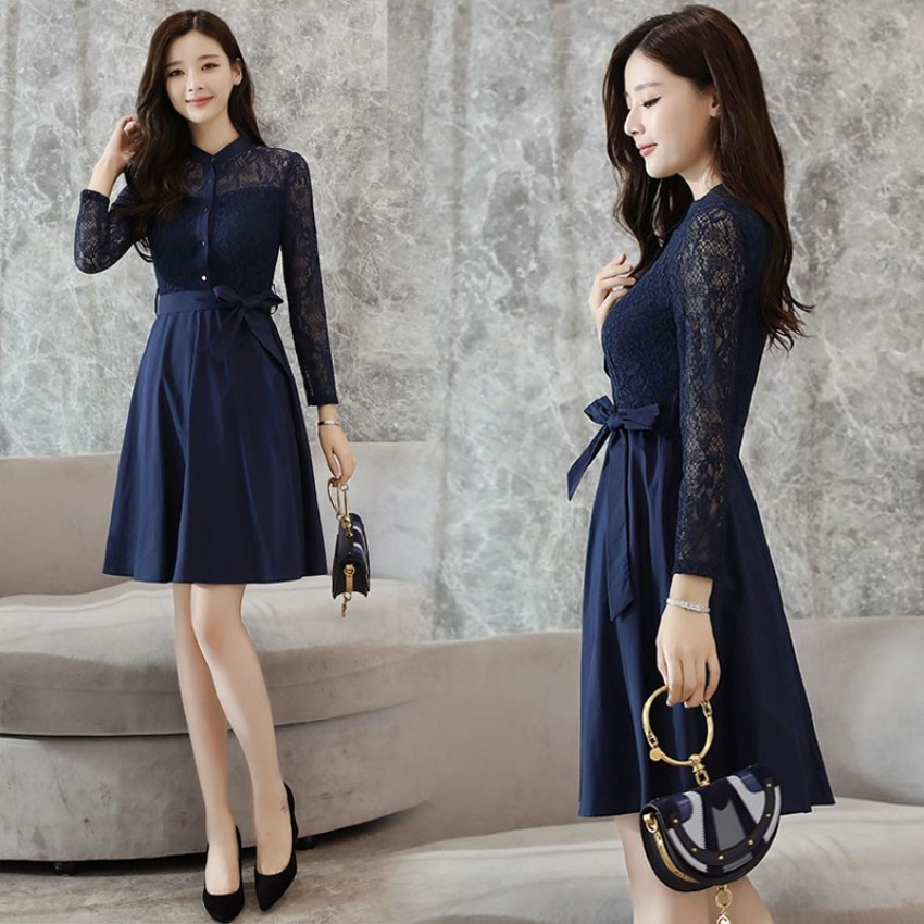 koreanstyle autumn new style slim fit collar dress