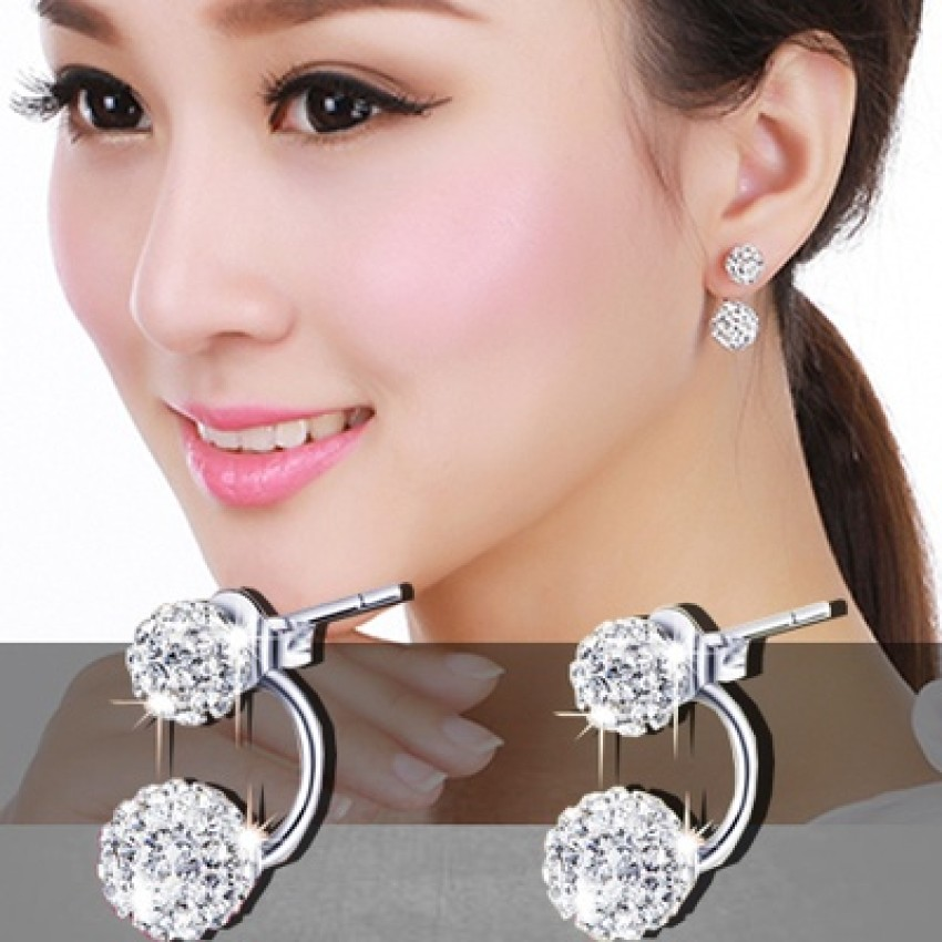 and american silver girls flower hanging golden peacock diamond combo dp women earrings buy skn for stud