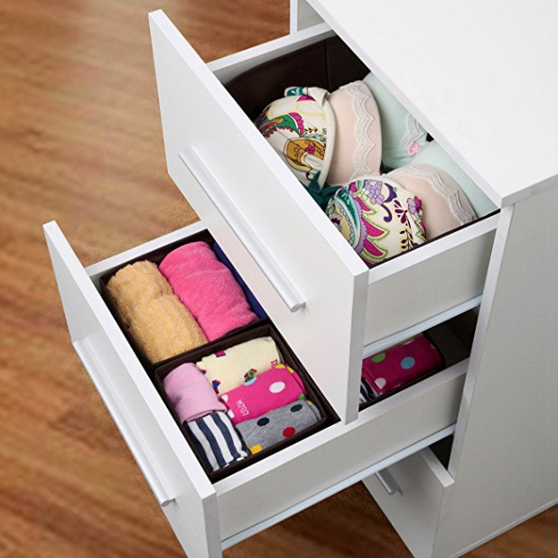 SONGMICS Fabric Drawer Divider Foldable Underwear Bra Storage Closet  Organizer Set ...