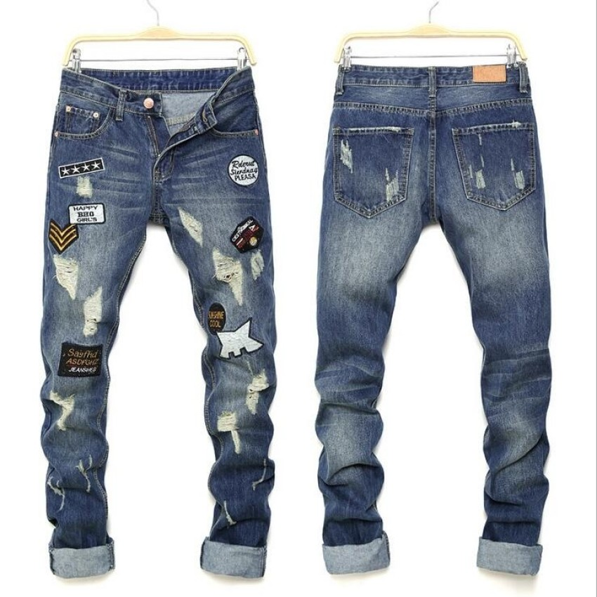 02d739dbb1a Mens high quality Patch Jeans ripped jeans for men holes pants denim  trousers- Blue – intl