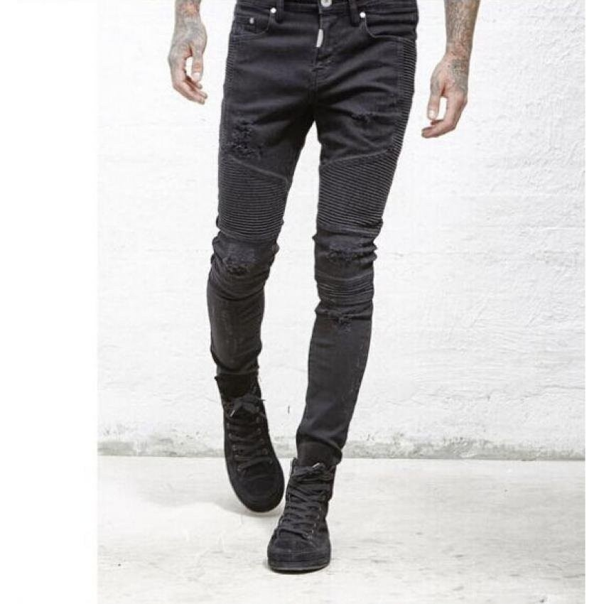 9ee99a10a7faf6 Mens Ripped Rider Biker Jeans Motorcycle Slim Fit Washed Moto Denim ...